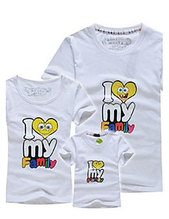 cheap Family Clothing Sets-Print Tee,Cotton Summer Short Sleeve Gray Yellow Red Green Blue