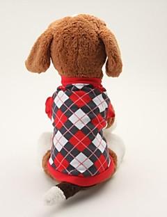 billiga Hundkläder-Hund T-shirt Hundkläder Pläd/Rutig Svart Blå Cotton Kostym För husdjur Herr Dam Klassisk Ledigt/vardag