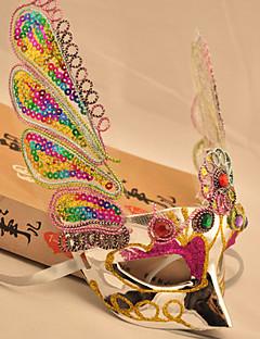 billige Halloweenkostymer-Peacock Feather Silver Kostymer halv ansiktsmaske