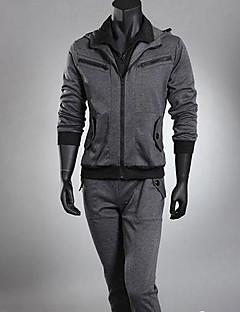baratos Abrigos e Moletons Masculinos-Homens Esportes Manga Longa activewear Set Sólido