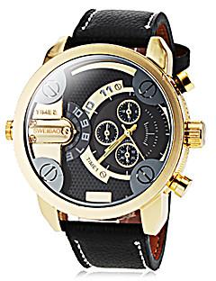 男性用 ドレスウォッチ ファッションウォッチ リストウォッチ 軍用腕時計 クォーツ 2タイムゾーン / PU バンド クール ブラック