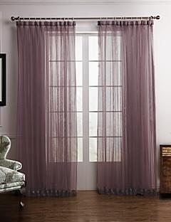 baratos Cortinas Personalizadas-Barra no Interior Anéis Presilhas Duplo Plissado Dois Painéis Tratamento janela Modern Quarto Poliéster Material Sheer Curtains Shades