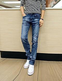 billige Herremote og klær-Herre Klassisk & Tidløs Chic & Moderne Jeans Bukser Ensfarget