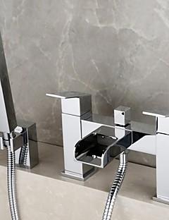 billige Foss-Dusjkran / Badekarskran - Moderne Krom Badekar Og Dusj Messing Ventil Bath Shower Mixer Taps / To Håndtak to hull
