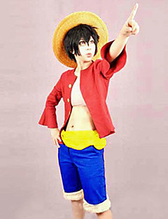 Inspired by One Piece Monkey D. Luffy Anime Cosplay Costumes Cosplay Suits Patchwork Top Belt Shorts For Male Female