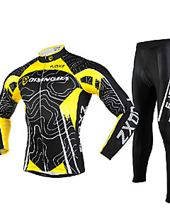 FJQXZ Cycling Jersey with Tights Men's Long Sleeves Bike Tights Clothing Suits Quick Dry Windproof Ultraviolet Resistant Front Zipper