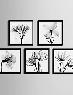Çiçek/Botanik Çerçeveli Tuval Çerçeve Seti Duvar Sanatı,PVC Malzeme Siyah Keçesiz Frame ile For Ev dekorasyonu çerçeve Sanat