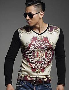 billige Lagersalg-T-skjorte Herre-Multi-farge,Trykt mønster Klassisk & Tidløs