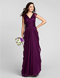 Sheath Column V Neck Floor Length Chiffon Bridesmaid Dress With Sash Ribbon Ruched By Lan Ting Bride