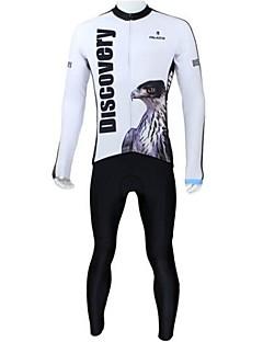 billiga Cykling-ILPALADINO Herr Långärmad Cykeltröja och tights - Vit Cykel Klädesset, Andningsfunktion, Håller värmen, Snabb tork, Fleecefoder Fleece Eagle