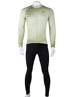 billige Sykkelklær-ILPALADINO Herre Langermet Sykkeljersey med tights - Svart/Grønn Sykkel Klessett, Fort Tørring, Pustende