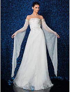 billiga Åtsmitande brudklänningar-Åtsmitande Axelbandslös Hovsläp Tyll Bröllopsklänning med Bård Applikationsbroderi av LAN TING BRIDE®