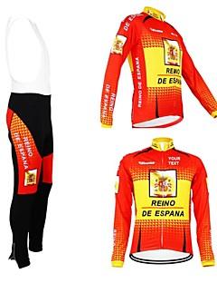 Kooplus Wielrenshirt met strakke wielrenbroek Heren Dames Unisex Lange mouw Fietsen Shirt Wielrenbroek/Fietsbroek Met Bretellen/Kuitbroek
