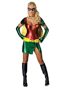 billige Voksenkostymer-Superhelter Cosplay Kostumer Party-kostyme Dame Halloween Karneval Festival / høytid Halloween-kostymer Grønn/Gul Lapper