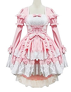 One Piece Dress Maid Suits Sweet Lolita Princess Cosplay Lolita Dress Patchwork Poet Long Sleeves Dress For Cotton