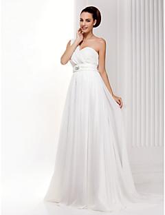 billiga A-linjeformade brudklänningar-A-linje Enaxlad Svepsläp Chiffong Bröllopsklänningar tillverkade med Rosett / Korsvis / Blombrosch i kristall av LAN TING BRIDE®