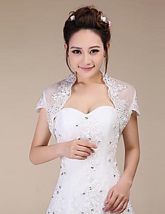 Short Sleeves Lace Wedding Party Evening Wedding  Wraps With Sequin Shrugs