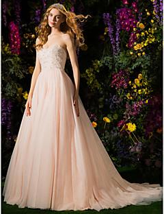 גזרת A סטרפלס שובל קורט טול שמלת חתונה עם קריסטל חרוזים על ידי LAN TING BRIDE®