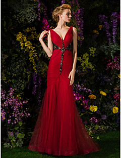 Mermaid / Trumpet V-neck Sweep / Brush Train Lace Tulle Prom Dress with Beading by TS Couture®