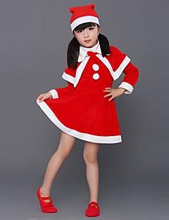 billige julen Kostymer-Nisse drakter Cosplay Kostumer Barne Jul Festival / høytid Halloween-kostymer Rød