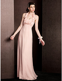 billige Romantisk rosa-kappe / kolonne halter gulvlengde silke brudepike kjole med draping ruffles av lan ting bride®