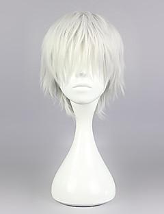 Cosplay Wigs Tokyo Ghoul Ken Kaneki Silver Short / Straight Anime Cosplay Wigs 30 CM Heat Resistant Fiber Male