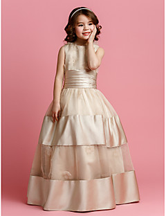 cheap Pageant Dresses-Ball Gown Floor Length Flower Girl Dress - Organza Satin Sleeveless Jewel Neck with Beading Sash / Ribbon Flower Ruched by LAN TING BRIDE®