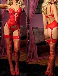 tanie Seksowne kostiumy-Uniformy Kostiumy Cosplay Bielizna Piżama Święta Halloween Festiwal/Święto Poliester Stroje Czerwony / Różowy Pusty