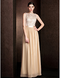 cheap Going Neutral-Sheath / Column Bateau Neck Floor Length Lace Bodice Georgette Bridesmaid Dress with Lace Sash / Ribbon by LAN TING BRIDE®