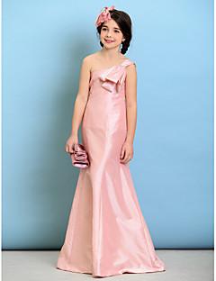tanie Sukienki dla dziewczynek z kwiatami-Krój A Na jedno ramię Sięgająca podłoża Tafta Sukienka dla młodszej druhny z Kokardki przez LAN TING BRIDE®