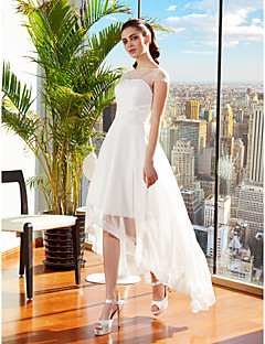 cheap Wedding Dresses-A-Line Bateau Neck Asymmetrical Chiffon Made-To-Measure Wedding Dresses with Sash / Ribbon / Flower by LAN TING BRIDE® / Little White Dress