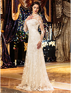 tanie Romans w stylu vintage-Ołówkowa / Kolumnowa Linia złudzenia Sięgająca podłoża Koronka Niestandardowe suknie ślubne z Koronka przez LAN TING BRIDE®