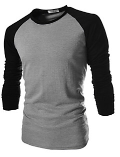 メンズ カジュアル/普段着 プラスサイズ Tシャツ ソリッド コットン 長袖