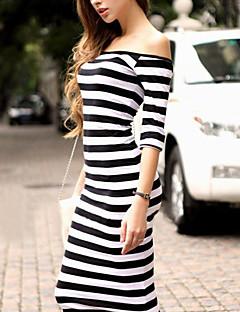 Χαμηλού Κόστους Stripes & checks-Γυναικεία Flare μανίκι Εφαρμοστό Φόρεμα - Ριγέ Χαμόγελο