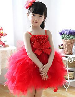 Ball kjole knelengde blomst jente kjole - bomull ermeløs stropper med bue (r)