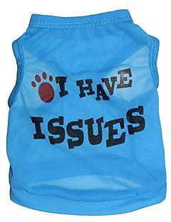 billiga Hundkläder-Katt Hund T-shirt Hundkläder Bokstav & Nummer Blå Terylen Kostym För husdjur