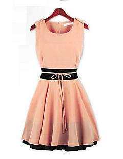 Χαμηλού Κόστους LightColorDresses-Γυναικεία Γραμμή Α Φόρεμα - Συνδυασμός Χρωμάτων Μίνι