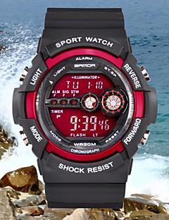 Herrn Sportuhr Armbanduhr digital Alarm Kalender Wasserdicht LCD Caucho Band Schwarz