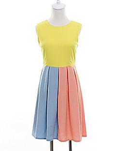 baratos Oferta-Mulheres Moda de Rua Bainha Rodado Vestido - Patchwork, Estampa Colorida
