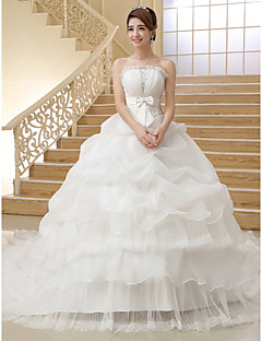 Ball Gown Strapless Cathedral Train Organza Wedding Dress with Bow Pick-Up by QQC Bridal