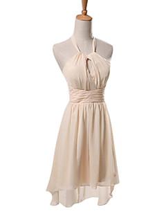 levne Krátké družičkovské šaty-Pouzdrové Lodičkový Ke kolenům Šifón Šaty pro družičky s Sklady podle