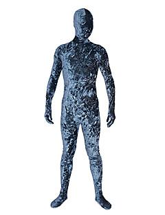 billige Zentai-Zentai Drakter Ninja Zentai Cosplay-kostymer Blå Trykt mønster Trikot / Heldraktskostymer / Zentai Fløyel Herre / Dame Halloween / Høy Elastisitet