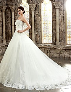 cheap Wedding Dresses-Ball Gown Sweetheart Chapel Train Corded Lace Custom Wedding Dresses with Appliques Buttons by LAN TING Express