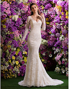 cheap True Allure-Mermaid / Trumpet V Neck Court Train Lace Wedding Dress with Beading Lace by LAN TING BRIDE®