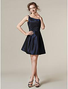 tanie Królewski błękit-Krój A / Księżniczka Na jedno ramię Krótka / Mini Tafta Sukienka dla druhny z Plisy przez LAN TING BRIDE®