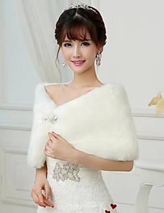 cheap -Sleeveless Faux Fur Wedding Party Evening Fur Wraps Wedding  Wraps Shrugs
