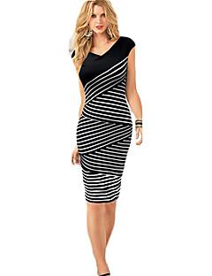 Χαμηλού Κόστους Stripes & checks-Γυναικεία Δουλειά Θήκη Φόρεμα - Ριγέ Λαιμόκοψη V
