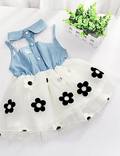 cheap Kids' Clearance-Girls' Floral Floral / Patchwork Sleeveless Long Cotton Dress White