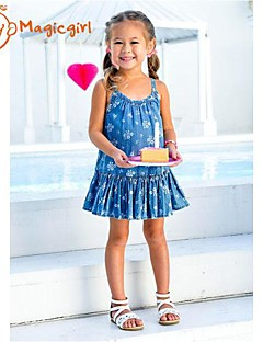 Girl's Summer Sleeveless Blue Denim Suspender Dresses Casual Flora Soft One Piece Dress(Cotton)