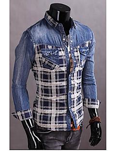 cu maneca lunga tesatura denim cămașă regulat bărbați (bumbac)